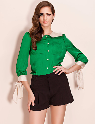 TS Contrast Color Bow Cuff Girly Blouse Shirt