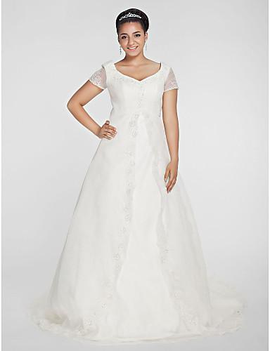 Linea-A Da principessa A V Strascico da cappella Organza Vestito da sposa con Perline Con applique di LAN TING BRIDE®