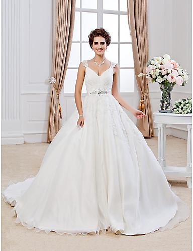 Haine Bal În V Trenă Capelă Organza / Dantelă cu Mărgele Made-To-Measure rochii de mireasa cu Mărgele / Aplică de LAN TING BRIDE®