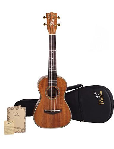 povoljno Žičani instrumenti-Rainie - (T-50) stručno-grade čvrste bagrema Koa tenor ukulele s koncert torbu / tunerom (pearl obvezujuća)