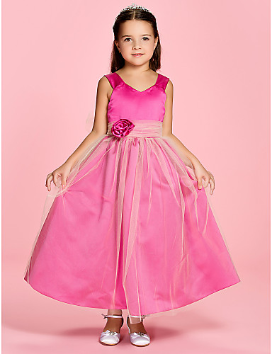A-Line Princess Ankle Length Flower Girl Dress - Satin Tulle Sleeveless V Neck Straps with Flower Ruched by LAN TING BRIDE®