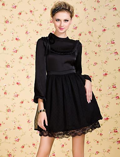 ts vintage vorne Falten Polka Dot Chiffon-Kleid