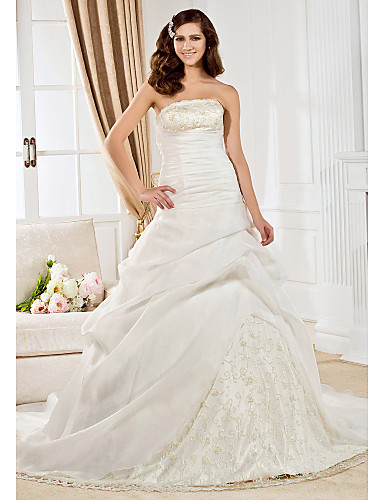 Ball Gown Strapless Court Train Organza Wedding Dress with Beading Lace Pick Up Skirt Ruched by LAN TING BRIDE®