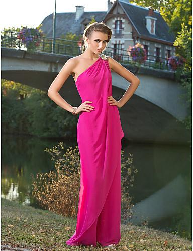 Kombinezon Na jedno rame Do poda Šifon Formalna večer Haljina s Kristalni detalji po TS Couture®