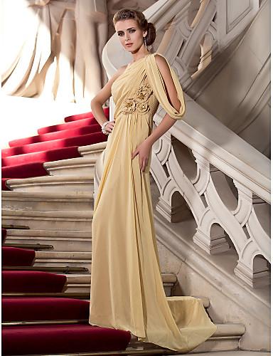 Tube / kolonne Etskuldret Børsteslæb Chiffon Formel aften Kjole med Perlearbejde Blomst ved TS Couture®