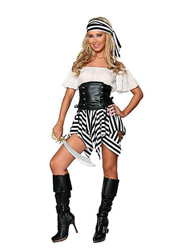 104190b3a قرصان أزياء Cosplay أزياء الحفلة نسائي Halloween مهرجان السنة الجديدة عطلة  / عيد جلد دنة ليكرا أسود / أبيض كرنفال ازياء بقع