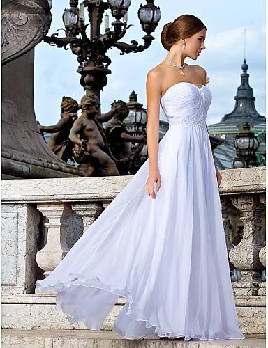 Fourreau / Colonne Coeur Longueur Sol Mousseline de soie Robes de mariée personnalisées avec Billes Ceinture / Ruban Effet Croisé Ruché