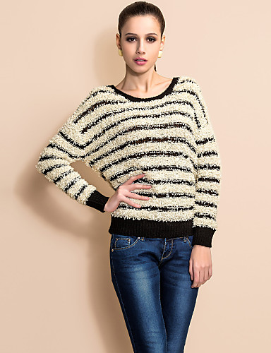 TS Stripe Long Sleeve Pullover Sweater(Two Colors)
