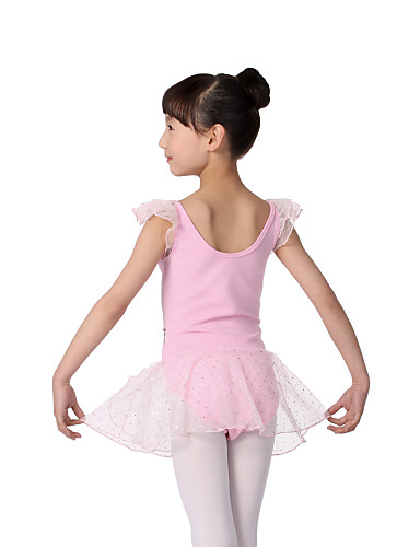 Performance Dacewear Cotton Short Sleeves Leotard With Tutu Ballet Dress For Kids More Colors Kids Dance Costumes