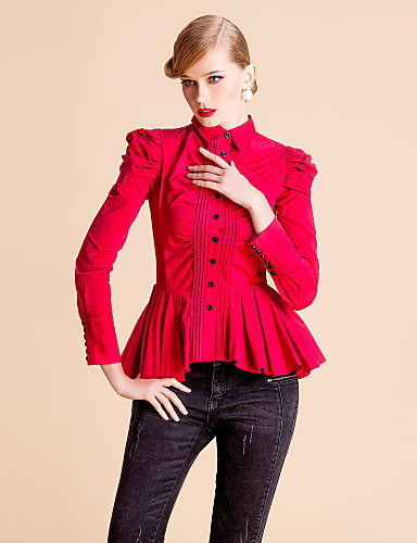 ts met lange mouwen ruches plooien blouse shirt (twee kleuren)