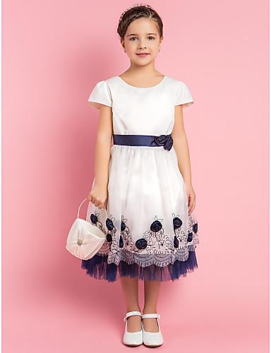 A-line/Princess Jewel Tea-length Satin Flower Girl Dress
