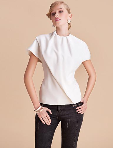 simplicidade ts gola redonda blusa top sólida de corte