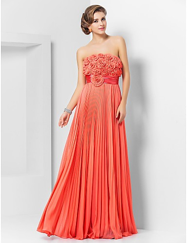 Sheath / Column Strapless Floor Length Chiffon Prom Formal Evening Military Ball Dress with Sash / Ribbon Pleats Flower by TS Couture®