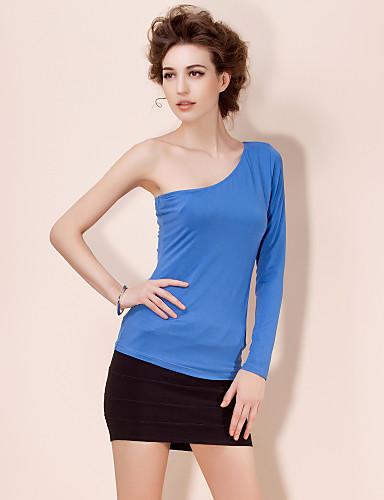 TS одно плечо простая рубашка блузка (больше цветов)