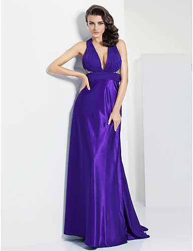 Sheath / Column Plunging Neckline Floor Length Chiffon Prom / Formal Evening Dress with Beading Ruched by TS Couture®