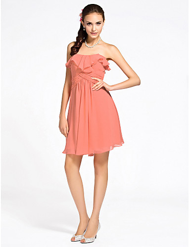 Sheath/Column Strapless Short/Mini Chiffon Bridesmaid Dress
