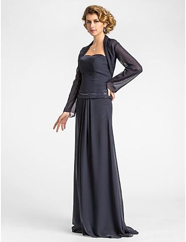 A-Şekilli Straplez Yere Kadar Şifon Boncuklama / Drape ile Gelin Annesi Elbisesi tarafından LAN TING BRIDE® / Şal dahildir