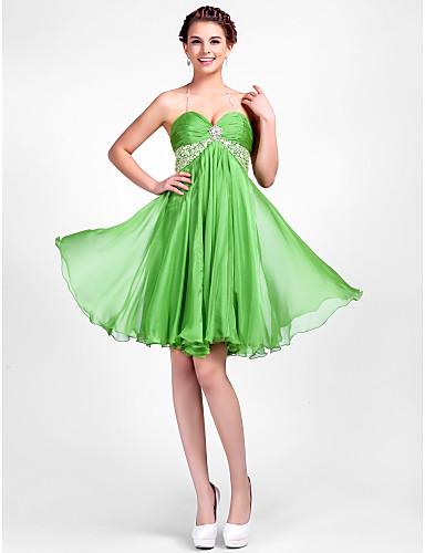 A-Linie Prinzessin Halter Sweetheart Knie-Länge Chiffon Cocktailparty Abschlussball Kleid mit Perlenstickerei Drapiert Kristall Brosche
