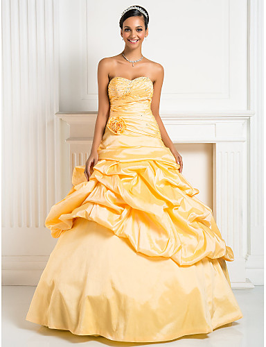 Ball Gown Princess Sweetheart Floor Length Taffeta Formal Evening / Quinceanera Dress with Beading Flower Criss Cross by TS Couture®