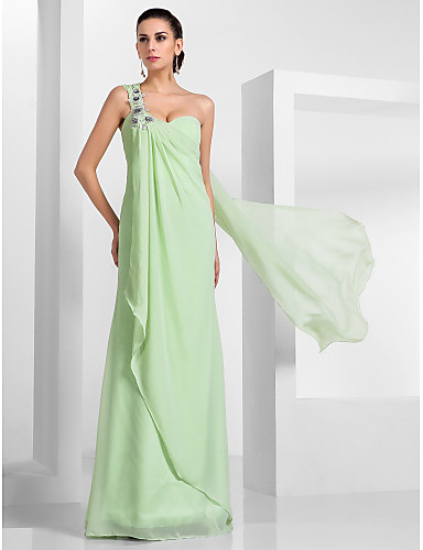 Sheath / Column One Shoulder Floor Length Chiffon Prom / Formal Evening / Military Ball Dress with Appliques Draping by TS Couture®