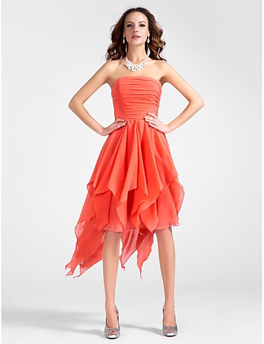 e472e60d364 Ball Gown Strapless Knee Length / Asymmetrical Chiffon High Low Cocktail  Party Dress with Draping / Cascading Ruffles / Ruched by TS Couture®