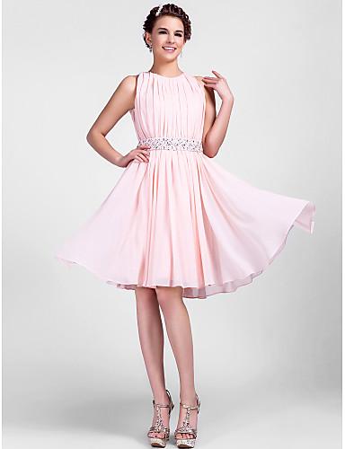 A-Linie / Prinzessin Schmuck Knie-Länge Chiffon Cocktailparty Kleid mit Perlenstickerei / Drapiert durch TS Couture®