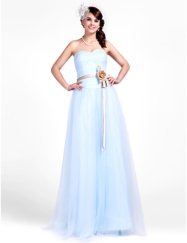 A-Line Princess Strapless Sweetheart Floor Length Tulle Bridesmaid Dress with Draping Sash / Ribbon Flower Ruched by LAN TING BRIDE®