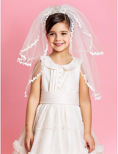 צעיף נערת פרחים לחתונה יפה עם קצה אפליקצית תחרה
