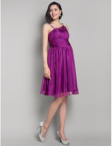 A-Line Princess Straps Knee Length Chiffon Bridesmaid Dress with Bow(s) Draping Ruched Crystal Brooch Side Draping by LAN TING BRIDE®