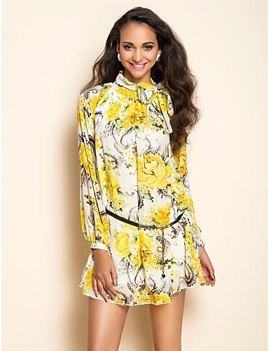 TS Print Chiffon langærmet kjole
