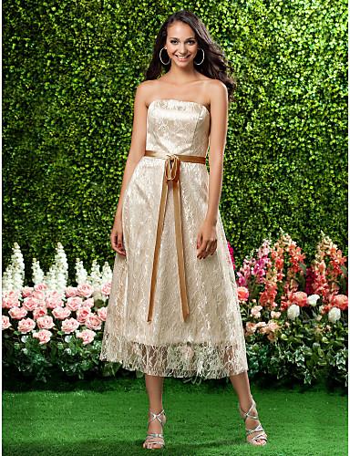 גזרת A נסיכה סטרפלס באורך הקרסול תחרה שמלה לשושבינה  עם פפיון(ים) תחרה סרט על ידי LAN TING BRIDE®