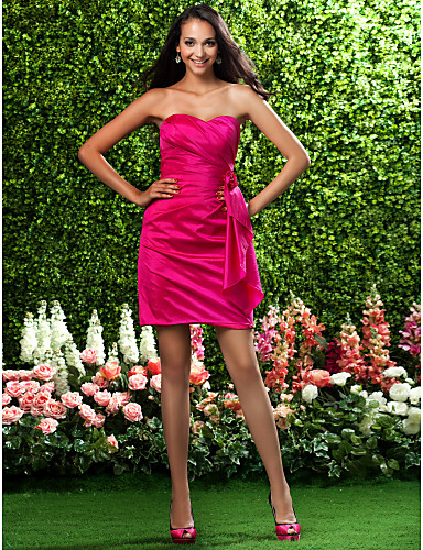 Sheath / Column Strapless Sweetheart Short / Mini Taffeta Bridesmaid Dress with Flower Side Draping by LAN TING BRIDE®