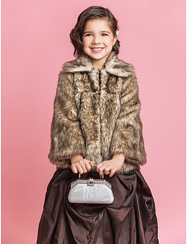 Brilliant Faux Fur Long Sleeve Flower Girl Party/Wedding Coat