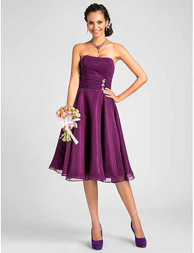 A-Line Princess Strapless Knee Length Chiffon Bridesmaid Dress with Crystal Detailing Draping Ruched by LAN TING BRIDE®