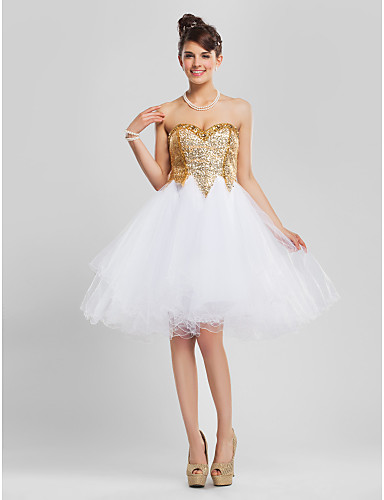 A-Line Ball Gown Princess Fit & Flare Strapless Sweetheart Knee Length Tulle Sequined Cocktail Party Homecoming Prom Sweet 16 Dress with