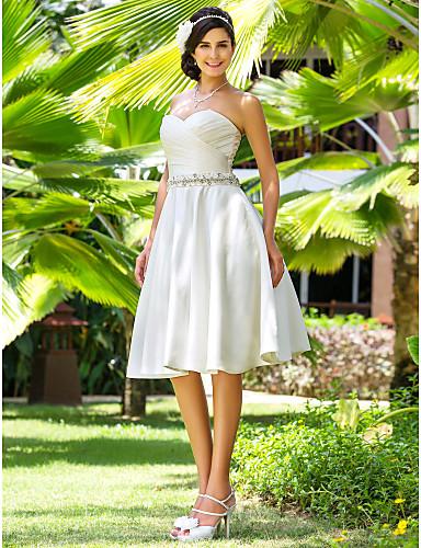 Linha A Princesa Decote Princesa Até os Joelhos Cetim Vestidos de noiva personalizados com Miçangas Faixa / Fita Cruzado de LAN TING