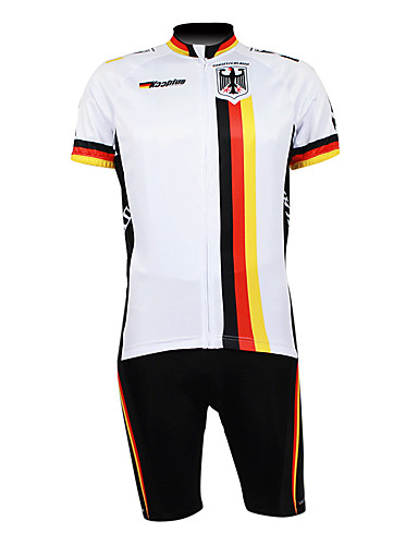 cheap Cycling Clothing-Malciklo Men's Half Sleeve Cycling Jersey with Shorts - White Germany Champion National Flag Bike Clothing Suit Breathable Waterproof Zipper Sports 100% Polyester Mountain Bike MTB Road Bike Cycling
