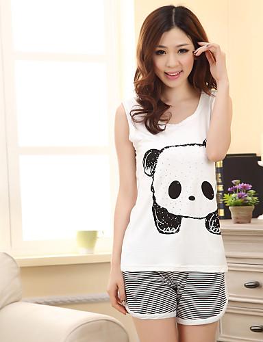 drăguț panda pijamale de imprimare pentru femei (lungime de sus: 61cm bust: 82cm lungime scurt: 31cm)