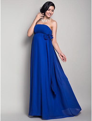 Ίσια Γραμμή Στράπλες Μακρύ Σιφόν Φόρεμα Παρανύμφων με Που καλύπτει / Ζώνη / Κορδέλα με LAN TING BRIDE®