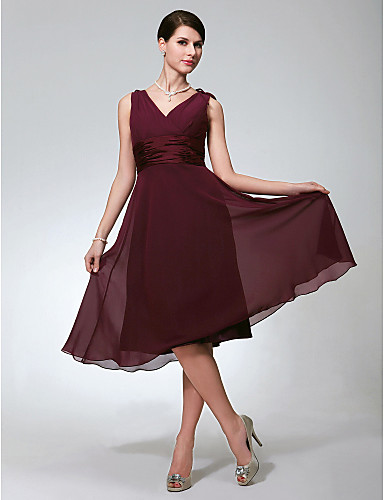 e3ecd01ca543 play video. cheap Bridesmaid Dresses-A-Line V Neck Knee Length Chiffon  Bridesmaid Dress with Ruched