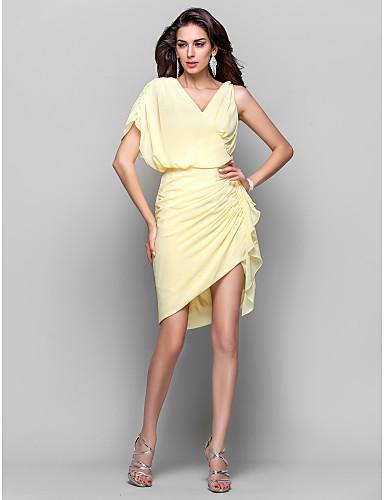 Pouzdrové Do V Krátký / Mini Asymetrické Šifón Koktejlový večírek Šaty s Boční řasení podle TS Couture®