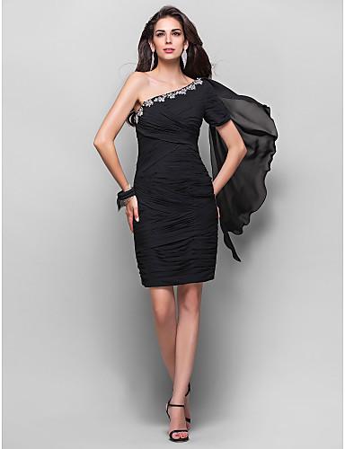 Eng anliegend Ein-Schulter Knie-Länge Chiffon Cocktailparty Kleid mit Kristall Verzierung Überkreuzte Rüschen durch TS Couture®