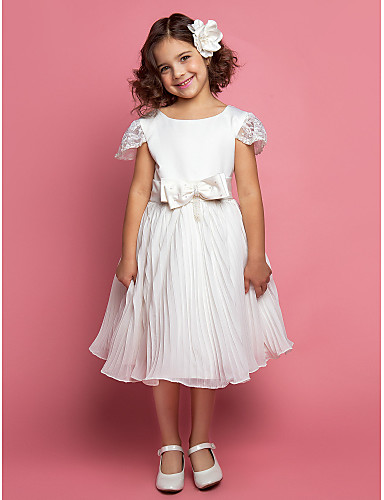 A-line / Ball Gown / Princess Knee-length Flower Girl Dress - Chiffon / Lace / Satin / Tulle Short Sleeve with Bow(s) / Sash / Ribbon