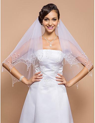 Wedding Veil Two-tier Fingertip Veils Beaded Edge 23.62 in (60cm) Tulle WhiteA-line, Ball Gown, Princess, Sheath/ Column, Trumpet/