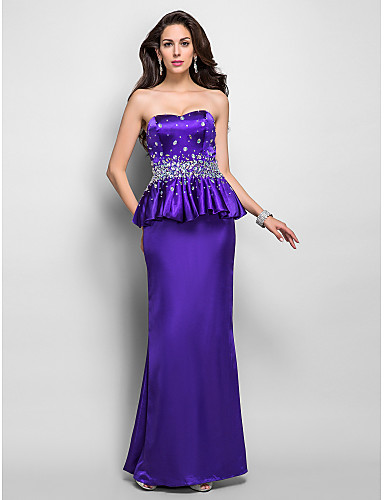 Sheath / Column Sweetheart Floor Length Charmeuse Formal Evening Dress with Crystal Detailing Ruffles by TS Couture®