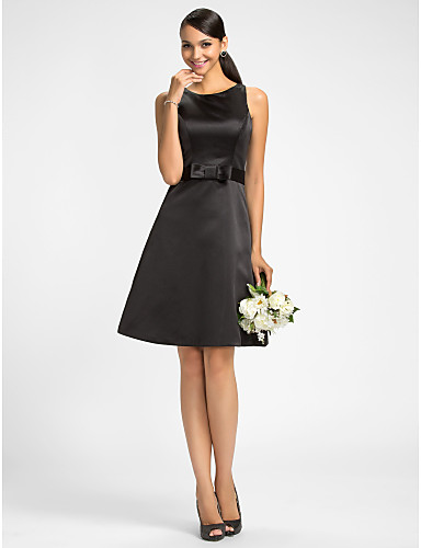 A-Line Jewel Neck Knee Length Satin Bridesmaid Dress with Bow(s) Sash / Ribbon by LAN TING BRIDE®