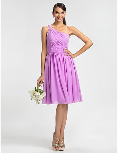 Sheath / Column One Shoulder Knee Length Chiffon Bridesmaid Dress with Sash / Ribbon Ruching Side Draping by LAN TING BRIDE®