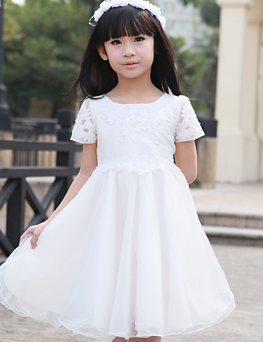 c9b5eb78ac6 A-line   Princess Knee-length Flower Girl Dress - Tulle Short Sleeve Scoop  with Beading   Lace 348822 2019 –  39.99