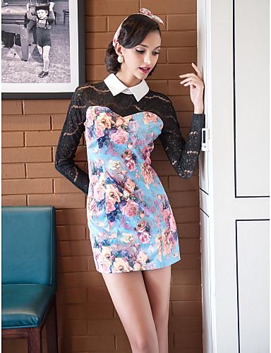 TS Contrast Color Print Lace Sleeve Dress