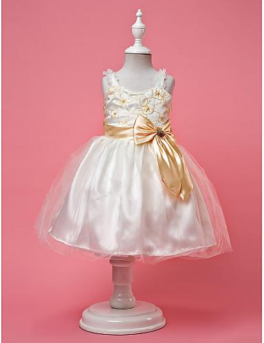 vestido de bola de las correas de raso y tul vestidos de niña de las flores